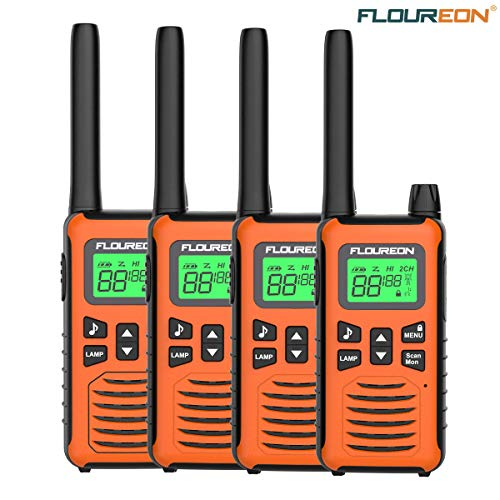 FLOUREON Two Way Radios Walkie Talkies for Children Rechargeable 22 Channel 3000M (MAX 5000M) Long Range with Flashlight and LCD Screen 4 Pack