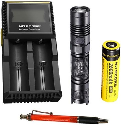 Nitecore P12CREE XM-L2Blanc neutre LED Lampe de poche 950luPour des hommes (avec gratuit Pen) (+ Nl186chargeur de batterie + D2)