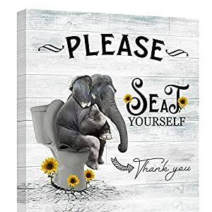 ZEREAA Bathroom Pictures for Wall Decor Sign Please Seat Yourself, Framed Funny Bathroom Wall Art Elephant Sit on Toilet Grey Canvas Wall Art for Bedroom Living Room Kitchen Office, 14x14inch