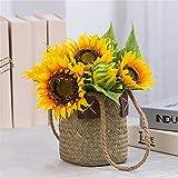 KDJJH Flores Artificiales, arreglos de Girasol, Flor Artificial con Cesta Tejida Flores...