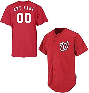 Washington Nationals Full-Button CUSTOMIZED (Any Name & Number on Back) Major League Baseball Cool-Base Replica MLB Jersey
