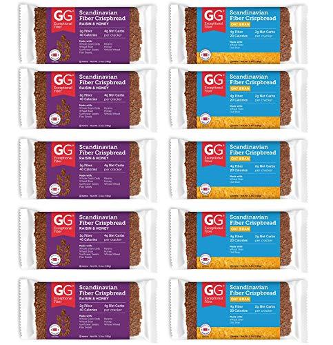 Peaceful Squirrel Variety, GG Scandinavian Crispbread Thins, Pack of 10 (2 Flavors: Original with Oat Bran and Raisins & Honey)