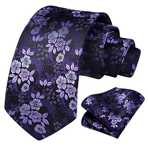 HISDERN Floral Tie for Men Handkerchief Woven Classic Flower Men's Necktie & Pocket Square Set Purple