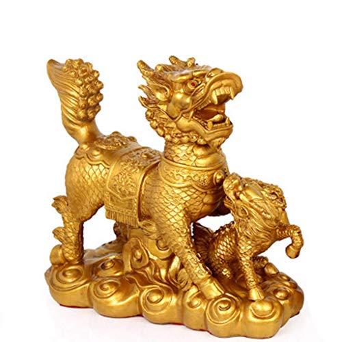 DCLINA Figuras Resina Chi Lin/Qilin/Kilin Gran tamaño Feng Shui Que atraen la Riqueza, decoración Que atrae la Riqueza y la Estatua la Buena Suerte