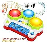 BelleStyle Giocattolo Musicale Piano per Bambini,Giocattolo Tamburo Musica Strumenti, Pianoforte Giocattolo con Luce e Suoni, Regali per Bambini Compleanno (Red)
