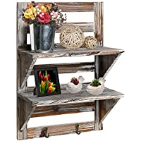 MyGift Rustic Wood Wall Mounted Organizer Shelves