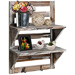 Rustic Wood Wall Mounted Organizer Shelves