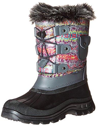 DREAM PAIRS Big Kid Ksnow Grey Multi Isulated Waterproof Snow Boots - 6 M US Big Kid
