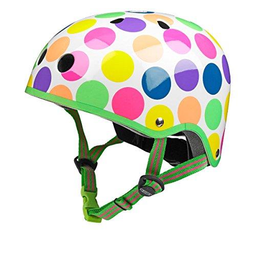 Micro - Casco Infantil v1 Seguridad Patinete, Bicicleta, Deportes Aire Libre. 2-12 años (M, Lunares)