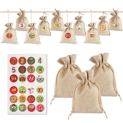 Aipaide 24 Stück Sackleinen Taschen Baumwolle Kleine Beutel mit Kordelzug, Jutesäckchen Weihnachten Geschenksäckchen Adventskalender zum Befüllen 4 x 10cm Jute Stoffbeutel Set
