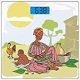 Escala digital de peso corporal de precisión Square Mujer africana Báscula de...