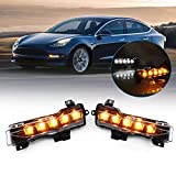 SPEEDPARK for Tesla Model 3 Accessories Dual Color OEM LED White DRL Daytime Running Light+Amber Dynamic Sequential Turn Signal/Clearance Lamp/Fog Light fit 2017-2021(2pcs)