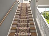 Marash Luxury Collection 25' Stair Runner Rugs Stair Carpet Runner with 336,000 Points of Fabric per Square Meter, Sarouk Ivory