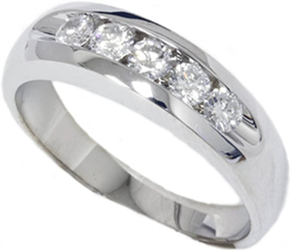 Mens 3 4ct Diamond OFFicial store White Wedding Gold Band New Discount is also underway Ring