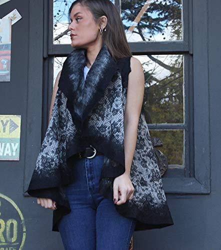 Women's Merino Branded goods Wool Felt Poncho Vest Max 77% OFF Wrap