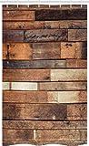 ABAKUHAUS De Madera Cortina para baño, Brown rústico Piso de la Mirada, Tela con Estampa Digital Apta Lavadora Incluye Ganchos, 120 x 180 cm, marrón