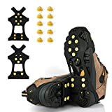 BETLLEMORY Ice Cleats, Ice Grips Traction Cleats Grippers Non-Slip Over Shoe/Boot Rubber Spikes Crampons with 10 Steel Studs Crampons + 10 Extra Replacement Studs (X-Large, Black)
