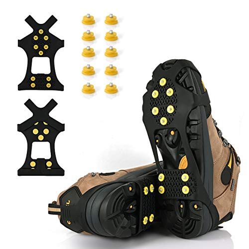XYZLH Ice Cleats Ice Grips Traction Cleats Grippers NonSlip Over Shoe/Boot Rubber Spikes Crampons with 10 Steel Studs Crampons  10 Extra Replacement Studs Black Medium