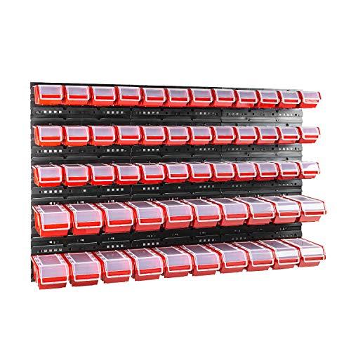 56 stck. Box mit Deckel + Wandregal 120 x 80 cm, Stapelboxen Schüttenregal Sichtlagerkästen Lagersystem
