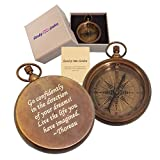 Stanley London Personalized Antique Open Faced Pocket Compass Gifts Engraved - 6 Designs - for Hiking, Graduation, Baptism, Confirmation, Anniversary, Him, Her, Husband, Dad, Son (Go Confidently)