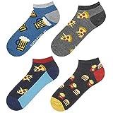 soxo Calcetines de Color para Hombre   Talla 40-45   Paquete de 4   Calcetines Algodón Cortos con Dibujos Graciosos   Perfectos para Zapatos y Botas
