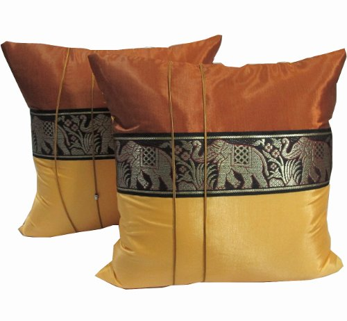 """Best Seller"" (DOUBLE) 2 BEAUTIFUL BIG ELEPHANT THROW CUSHION COVER/PILLOW CASE HANDMADE BY THAI SILK AND COTTON FOR DECORATIVE SOFA, CAR AND LIVING ROOM SIZE 16 X 16 INCHES"