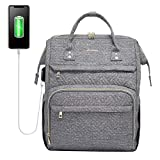 LOVEVOOK Laptop Rucksack Damen 17 Zoll, Schulrucksack Daypack wasserdichte, Business Rucksäcke mit Laptopfach & Anti-Diebstahl Tasche, für Reisen Herren, Grau
