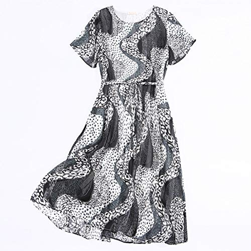 BINGQZ Cocktailjurken Gedrukte jurk vrouwelijk temperament abstracte literaire rok met korte mouwen taille was dun over de knie lange rok zomer