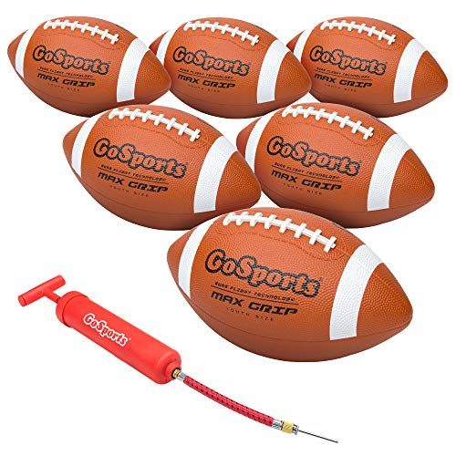 GoSports Rubber Footballs  6 Pack of Youth Size Balls with Pump amp Carrying Bag
