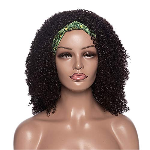 Divine Hair Short Kinky Curly Wigs for Women Synthetic Black Brown Wig with Bangs Headband Wigs Wrap wigs 2 in 1 Headwrap Wigs Turban Drawstring High Puff Wigs Afro Curly Wrap Wigs With Green Hairband