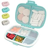 SYOSIN Portable Pill Organizer, 8 Compartments Travel Pill Organizer Daily Pill Case, Moisture Proof Small Pill Box to Hold Vitamins, Cod Liver Oil, Supplements (Blue)