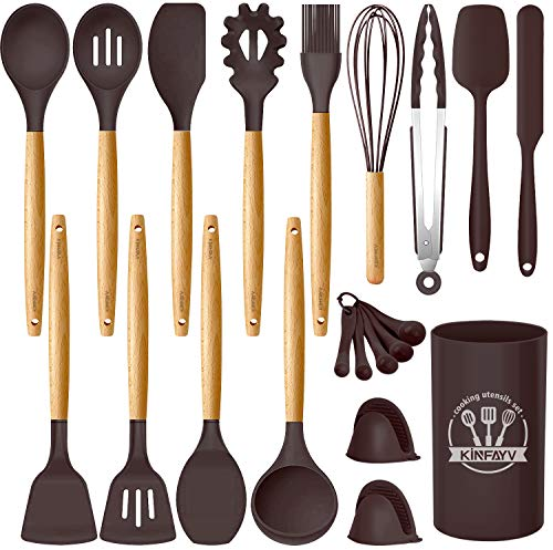 Kinfayv Silicone Cooking Utensils Kitchen Utensil Set, 21 PCS Wooden Handle Nontoxic BPA Free Silicone Spoon Spatula Turner Tongs Kitchen Gadgets Utensil Set for Nonstick Cookware with Holder (Coffee)