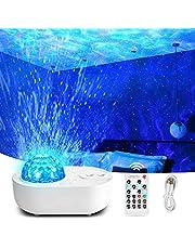Apark Stjärnprojektor, nattlampa projektor, inbyggd Bluetooth-högtalare, havsvågslampa med fjärrkontroll, gåvor hem party dekoration
