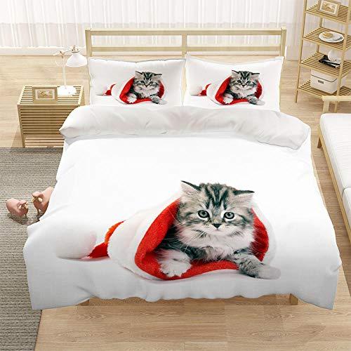 Cubierta de la cubierta del edredón para niños 3D cubierta de cama de 3 piezas Super King Tamaño Animal Cat Blue Eye Eye Eye Funda de cama con cierre de cremallera-dieciséis_220 * 260cm