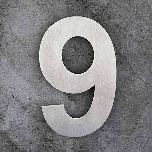 Doamt Zmaoyun-Números para Casas Muestra de la Puerta de la casa Flotante de 6 Pulgadas montada, Acero Inoxidable Cepillado níquel, Fácil instalación (Color : Number 9)