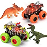 Monster Truck Toy Set | 2 Dinosaur Trucks + 2 Realistic Toy Dinosaurs | Red LIGHTS & Roaring SOUNDS – MOBIUS Friction Powered Push & Go Playset Up to 30 METERS for Boys and Girls 3 4 5 6 7 8 Years Old