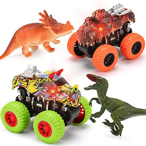 2 Dinosaur Trucks + 2 Realistic Toy Dinosaurs Set | Red Lights & Roaring Sounds - Mobius Monster Truck Toy Friction Powered Push & Go Up to 30 Meters for Boys & Girls 2 3 4 5 6 7 8 Years Old