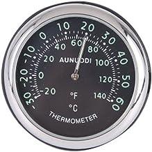 XMDZ - Termómetro analógico de temperatura para coche, monitor luminoso de temperatura con soporte de salpicadero, con lecturas Fahrenheit/Celsius, negro