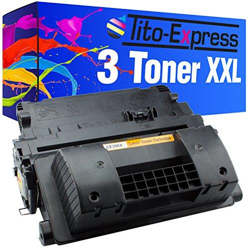 Tito-Express PlatinumSerie - Juego de 3 tóner XXL negro (compatible con HP CE390X 90X Laserjet Enterprise 600 M602DN M602 M600 M602N M602X M603DN M603N M603XH M4500 Series M4555F MFP M4555 FSKM)
