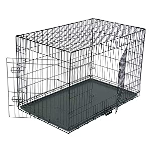 """Dog Crate, Folding Metal Pet Crate, Single-Door & Double-Door Homes for Pets, Kennel with Divider Panel, Wire Dog Crate Animal Cage, for Training Pet Supplies & Accessories (48"""" Double Door)"""