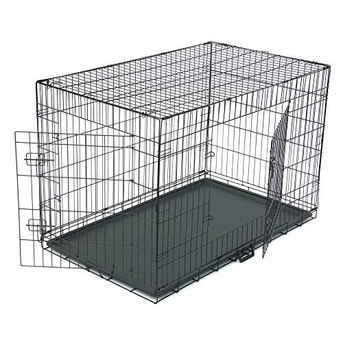 """Dog Crate, Folding Metal Pet Crate, Single-Door & Double-Door Homes for Pets, Kennel with Divider Panel, Wire Dog Crate Animal Cage, for Training Pet Supplies & Accessories (48"""" Double Door) Basic Crates"""