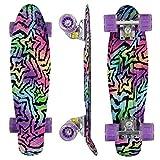 Morer Galaxy Pattern Skateboard, 55,9 cm LED Leuchtrollen, cooles Penny Board Komplett-Skateboards für Anfänger Mini Standard Skateboard für Mädchen Jungen (1)