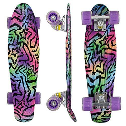 Morer Galaxy Pattern Skateboard, 50 cm LED Light Up Wheels Cool Penny Board Skateboard completo per principianti Mini Skateboard standard per ragazze e ragazzi (1)