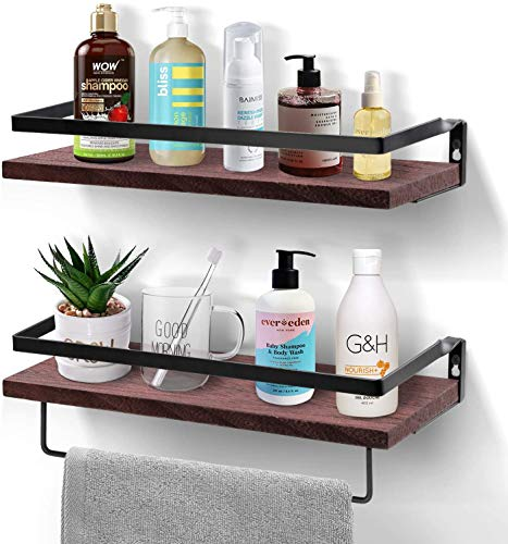 Floating Shelves Wall Mounted, UNGROL Rustic Pine Wood Wall Storage Shelves Set of 2 with Removable Towel Bar & Hooks, Black Shelf Wall Organizer with Metal Frame for Bathroom, Kitchen, Bedroom, etc