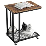 IRONCK Industrial Side Table Living Room, C Table on Wheels for Small Space, TV Trays Mobile Snack Couch Table, Slides Next to Couch, Metal Frame Wood Look