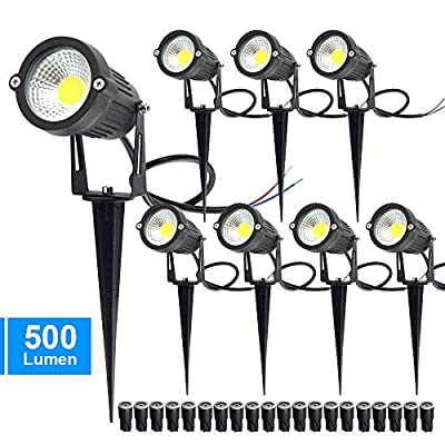 CHINLY 5W LED Landscape Lights Garden Lights 12V 24V 3000K Warm White Outdoor Spotlight Low Voltage Waterproof for Driveway, Yard, Lawn, Pathway (8 Pack with Connectors & Spikes)