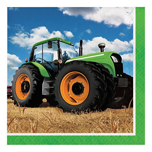 Creative Converting Disposable Tractor Time Paper Lunch Napkins, Party Supplies, 6.5 x 6.5, Multicolor, 16ct,318051