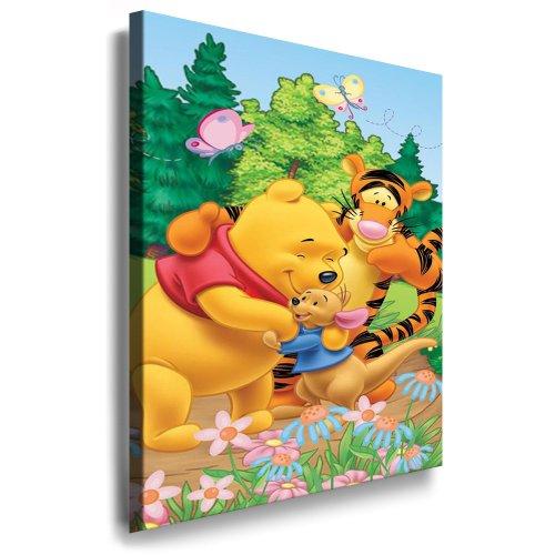 Winnie the Pooh Kinderzimmer Kunstdruck Bild 100x70cm k. Poster ! Bild fertig auf Keilrahmen ! Pop Art Gemälde Kunstdrucke, Wandbilder, Bilder zur Dekoration - Deko / Top 100 ! Bilder für Kinderzimmer - Babyzimmer