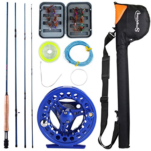 Sougayilang Saltwater Freshwater Fly Fishing Rod with Reel Combo Kit-Blue