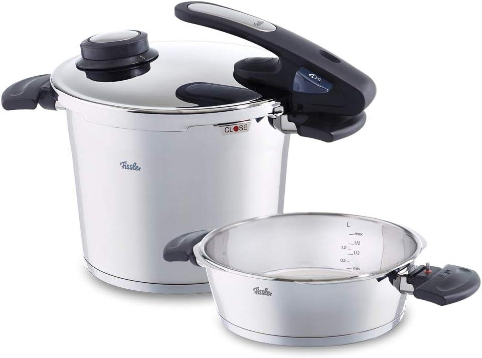 Fissler vitavit edition design / Juego de ollas a presión (6 + 2,5 litros, Ø 22 cm) de acero inoxidable, 2 niveles de cocción, apta para cocinas de inducción, gas, vitrocerámica y eléctricas
